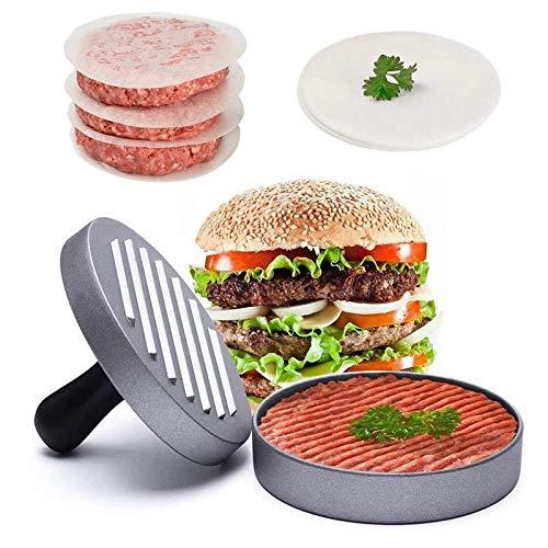 Burger Pattie Presse, mit 50 Blatt burger papier, Edelstahl Burgerpresse aus Aluguss für Leckere Hamburger Robustes grill zubehör, Spülmaschinenfeste Hamburger Presse - Grillzubehör Männer Geschenk