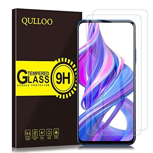 QULLOO Protector de Pantalla para Huawei P Smart Pro/Honor 9X / Honor 9X Pro Cristal Templado [2.5D Borde Redondo] [9H Dureza] [Anti-Huella] Vidrio Templado (2 Piezas)
