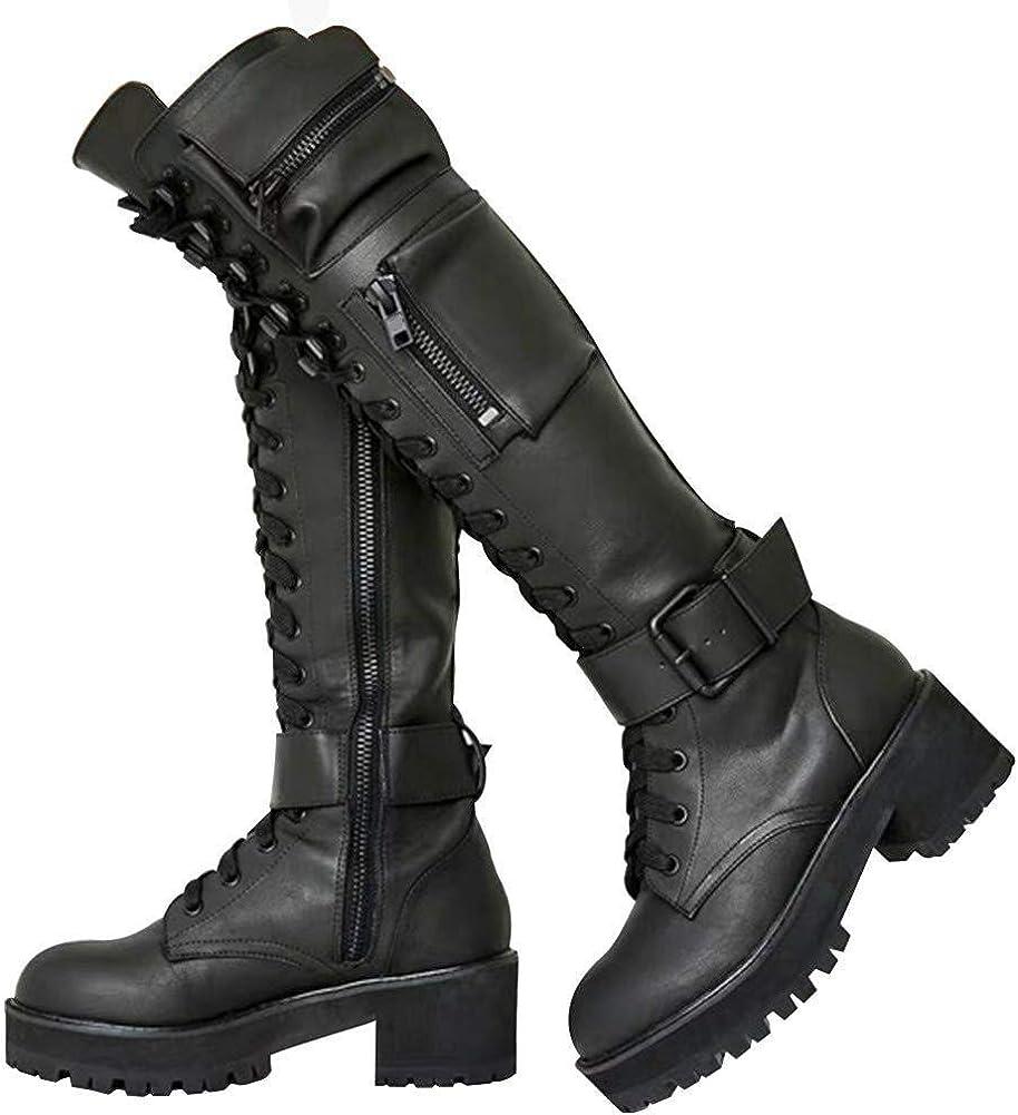 Ranking TOP14 MEILIYA Military Knee High Boots Max 62% OFF for Hidden Pocket Women Zipper