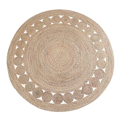 Ablagen Handgefertigtes Gewebtes Teppich aus Rautengewebe Rundes Wohnzimmer aus Schilfrohr Couchmatte Schlafzimmer Nachttischdecke (Color : Beige, Size : 120 * 120cm)