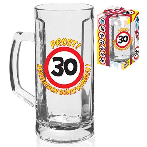 KMC Austria Design - Vaso de Cerveza de 0,5 litros, para 30 cumpleaños, con señal de tráfico 30, en Caja de Regalo