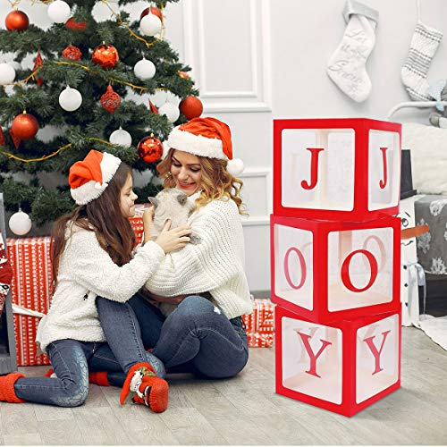 Gichies Red and White Large Christmas Decorations Fireplace Decor Holiday Party Red Christmas Decorations Transparent Joy Box Joy Blocks for Xmas Home Decor