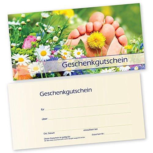 50 Fußpflege – Gutscheinkarten SOMMERWIESE Gutscheine Geschenkgutscheine