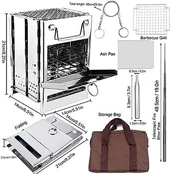 Unnosin Réchaud de camping portable avec grill, poêle à bois pliable pour camping avec récupérateur de cendres, grille de barbecue, tuyau de soufflage, scie à corde, sac de transport (14×14×21cm)