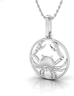 I-J Color, I2-I3 Clarity IGI Certified 1//20 Carat Natural Diamond Sterling Silver Moon Pendant with Chain for Women