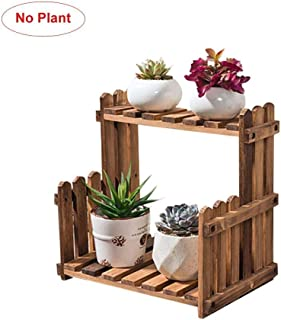 SHYPwM 小さな植物スタンド、多肉植物の卓上ウィンドウ用の木製植物スタンドフラワーガーデンラック2ティア屋内デスクインテリア (Color : Brown 30cm)