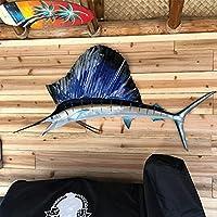 ぶら下げ/配置の装飾魚のシルエットメタルアートの壁の装飾、ボートのリビングルームのキッチンレストランの装飾 fish B-18*40cm