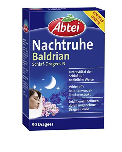 Abtei Nachtruhe Baldrian Schlaf-Dragees N - pflanzliches Arzneimittel für erholsamen und gesunden Schlaf sowie bei nervlicher Belastung - ohne Gewöhnungseffekt - 1 x 90 Dragees