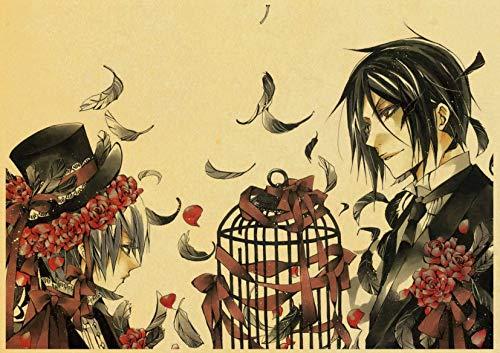 H/A Vintage Cartoon Japanischen Anime Black Butler Retro Poster Leinwand Malerei Gedruckt Wand Poster Für Home Bar Cafe Zimmer Wandaufkleber Z569 50 * 70 cm