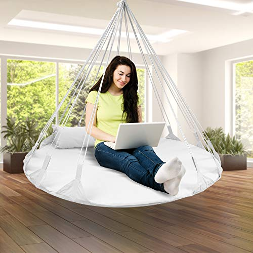 Sorbus Hanging Swing Nest with Pillow, Double Hammock Daybed Saucer Style Lounger Swing, 264 Pound Capacity, for Indoor/Outdoor Use (Swing Nest - White)