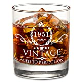 AOZITA 70th Birthday Gifts for Men - 70th Birthday Decorations for Men, Party Supplies - 70th Anniversary Gifts Ideas for Him, Dad, Husband, Friends - 11oz Whiskey Glass