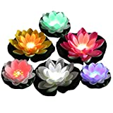 Color Changing LED Light up Floating Lily pad, Water Floating LED Lily Light, Lotus Light illuminates centerpieces, Ponds, Pools or Fish Tank(6 Lotus and 2 Lily Pad)