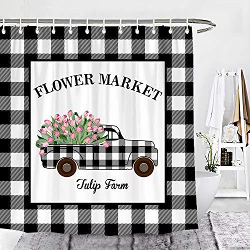 Wencal Buffalo Check Plaid Tulip Truck Farm Shower Curtain Flower Market Spring Farmhouse Bathroom Decor with Hooks 72 x 72 Inches