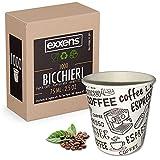 Exxens Espresso to go Becher (1000 Stk.) – Biologisch abbaubar, kompostierbar Espressobecher Pappbecher Kaffeebecher Probierbecher Einweg klein für Espresso (75ml/2.5 oz) - Ideal für hohe Temperaturen