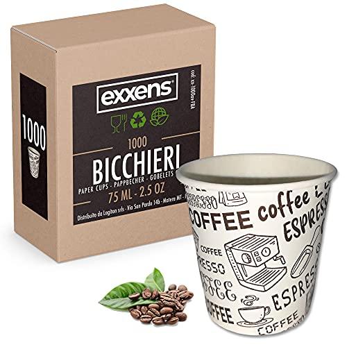 Exxens 1000Pz Bicchierini Tazzine Caffè 75ml Biodegradabili di Carta Ecologici Bio Usa E Getta (avana beige 75ml)