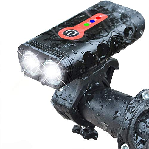 FENNG Luz Bicicleta Luces Bici Delantera y Trasera Faro LED USB Recargable Potente Linterna 4000 mAh 1000 Lumen Superbrillante IPX5 Impermeable 5 Modos