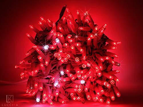 Luccika stringa catena di luci di Natale a led professionale con MaxiLed per ristoranti hotel strade e viali per uso esterno ed interno (Rosso con Flash Bianco Ghiaccio, 10 Metri - 100 LED)