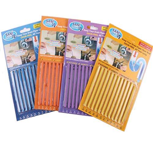 MINGZE 4 Paquetes (48 unidades) Mantiene los desagües y tuberías Limpios y con olor Herramienta de limpieza Descontaminación de la, ayuda a prevenir la formación de obstrucciones (colores aleatorios)
