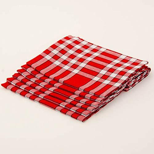 Lingorama Serviette de Table 50 x 50 Normandes Carreaux Pur Coton - Vendu par 6 - Coloris Rouge