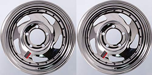 2-Pack Trailer Wheel Chrome Rims 14 x 5.5 in. Directional Style 5 Lug On 4.5