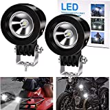Ourbest Motorcycle Driving Lights, 2.5 inch Spotlight LED Fog Lights for Motorbike ATV Bicycle Off Road Accent Off Road Lighting(10W White)