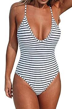 CUPSHE Women s One Piece Swimsuit Striped Scoop Neck Cross Back Beach Swimwear Bathing Suits Multi-Color S