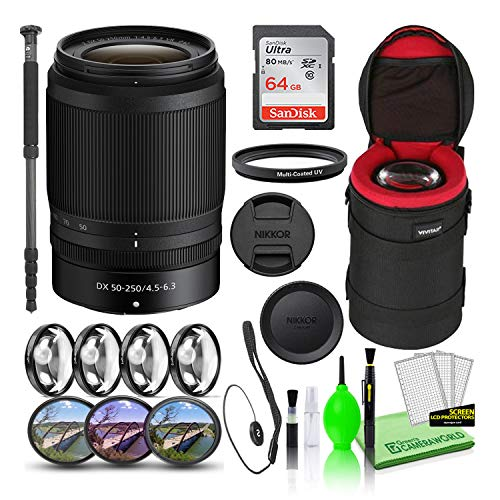 Nikon NIKKOR Z DX 50-250mm f/4.5-6.3 VR Lens (20085) USA Model Bundle with 64GB Ultra SDHC Memory Card + Padded Lens Case + 70-Inch Professional Monopod + 8-Piece Filter Kit (Macro, UV, CPL, FLD)