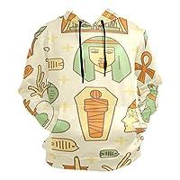 エジプト抽象芸術アスリートメンズボーイズ用パーカー3Dプリントアスレチックフード付きスウェットシャツ(ヘルスファブリック)