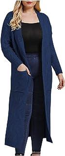 Lataw Women Coats Stylish Plus Size Jacket Solid Knitting Open Front Casual Coat Blouse Kimono Cardigan with Pocket Overcoat