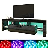 "ELEGANT Modern High gloss TV Stand Cabinet with LED Light for 22""-65"" Flat Screen 4k TVs/Living Room Bedroom Furniture Television Unit TV Cabinet with Shelves and Drawers for Media Storage,Black"