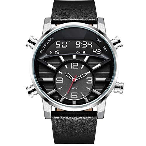 Relojes relojes digitales for los hombres, correa de cuero clásico reloj deportivo digital de pantalla a prueba de agua Casual Cronómetro luminoso de alarma del reloj simple Ejército ( Color : A )