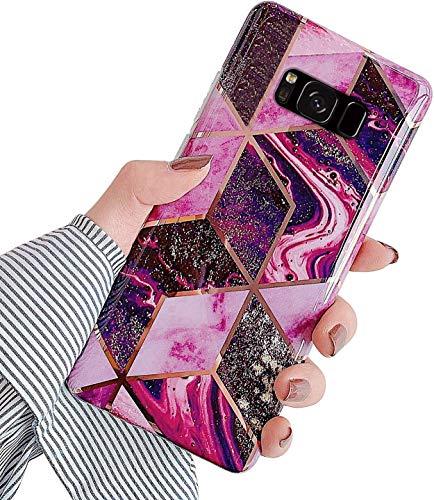 Herbests Coque Compatible avec Samsung Galaxy S8 Plus Étui Silicone avec Motif Marbre Ultra Mince Anti-Rayures Bumper Case Brillante Placage Protecteur Souple Gel TPU Back Cover Shell, Pourpre