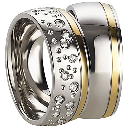 1Paar Partnerringe für Ehe, Verlobung, Heirat oder Freundschaft in Edelstahl mit haltbarer goldener PVD Beschichtung, Damenring mit gefassten Zirkonia Sternenhimmel Gravur inklusive