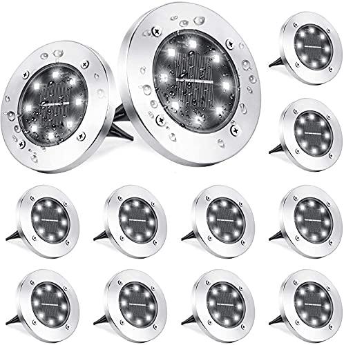 Luci Solari Giardino Esterno, BrizLabs 12 Pezzi 8 LEDs Luce Sepolta Lampada Solare da Esterno Faretti LED Solari Impermeabile IP65 Luci Terra per Paesaggio Strade Cortile Vialetto Scala, Bianco Freddo