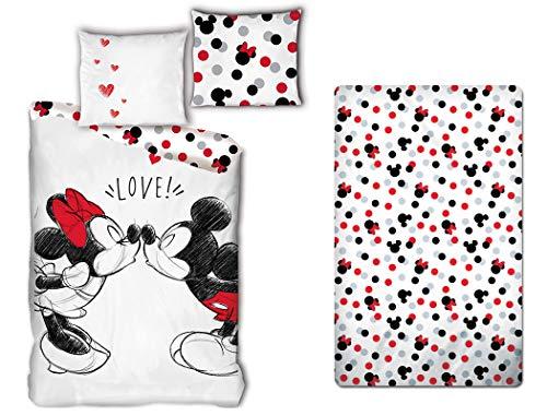 LesAccessoires Mickey & Minnie - Juego de cama (funda nórdica de 140 x 200 cm + funda de almohada + sábana bajera de 90 x 200 cm, 100% algodón)