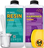 Clear Epoxy Resin Art Resin Epoxy Clear 2 Part Epoxy Casting Resin Kit 64 Ounce Countertop Epoxy Wood Epoxy Resin Kit with Bonus Measuring Cups, Plastic Spreader and Plastic Sticks