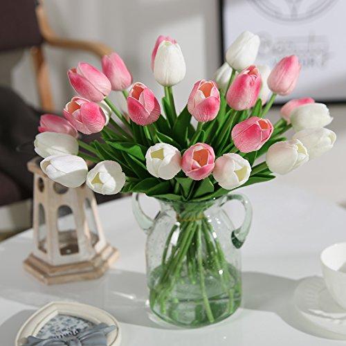JUSTOYOU 20 STK PU Real Touch Latex Künstliche Tulpen Gefälschte Tulpen Blumen Blumensträuße Blumen Arrangement für Home Room Hochzeitsstrauß Party Herzstück Dekor Rosa - 3