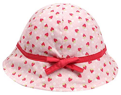 Happy Cherry - Sombrero Pescador para Bebés Recien Nacido Niñas Suave Gorro de Sol con ala Infantil para Playa Verano - Rosa - 0-6 Meses/44cm