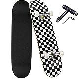 Deecam Completo Skateboard para Principiantes, Niños, Adultos, Adolescentes, 7 Capas de Arce de Canadiense Nivel con rodamientos ABEC-7 Tabla de Skateboard, 31 x 8 Pulgadas (Blanco y Negro)