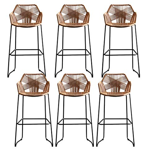 LYRWISHPB Silla de Comedor Minimalista Moderna de Metal para jardín al Aire Libre Sillas de Mimbre Tejidas Café Ocio Respaldo Taburete Cocinas Mostrador con reposapiés - Altura del Asiento 65cm