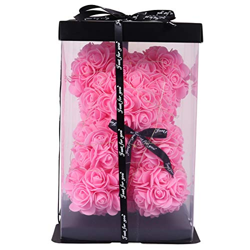 Uonlytech Rose Flower Bear with String Light Hugz Teddy Bear Artificial Flower Bear Cub Forever Rose Everlasting Flower Gift for Valentines Day Window Display 25cm Pink