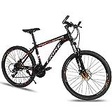 LXZH Bicicleta de Montana de 21 Velocidades Shimano, 26 Pulgadas Bici Carbono, la absorción de Choque de la Bicicleta de Doble Freno de Disco Hombres Mujeres,Rojo