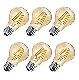 MENTA LED Lampadina Vintage Edison E27 6W equivalenti a 60W 600LM Bianco Caldo 2700K A60 Lampadine Decorativo per Casa, Ristorante, Bar, Caffe Non dimmerabile - 6 Pezzi