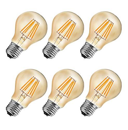 MENTA Vintage Edison Glühbirne E27 6W LED Retro Lampe Soft Spiral Filament Dekorative Glühbirne Ersetzt 60W 600LM Warmweiss 2700K 220-240V A60 Filament Fadenlampe Nicht Dimmbar - 6 Stück