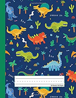 Dinosaur Era - Primary Story Journal: Dotted Midline and Picture Space | Grades K-2 School Exercise Book | 100 Story Pages - Blue (Kids Jurassic Composition Notebooks)