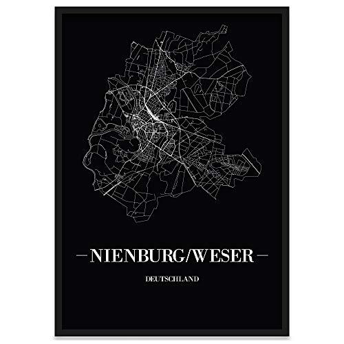 JUNIWORDS Stadtposter, Nienburg/Weser, Wähle eine Größe, 40 x 60 cm, Poster mit Rahmen, Schrift A, Schwarz