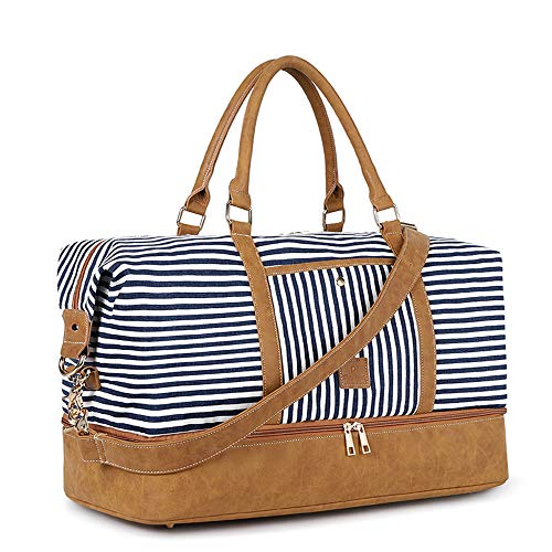 Premium Material: Soft and durable water-repellent canvas with elaborate stripe pattern and high-quality faux leather, paired with smooth zippers, golden double clasps and comfortable padded handle, stylish and practical Thoughtful Design: An adjusta...
