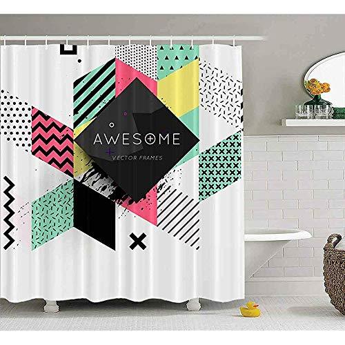 Auld-Shop Tenda per Doccia Trendy Geometrica Motivo Piatto Cornice Sfondo Astratto Presentazioni Flyer Tende per Doccia Tenda per Doccia