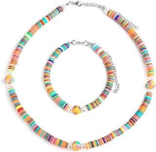 Heishi Necklace Bracelet Set - Surfer Choker Necklace Bracelets, Bohemian Rainbow Vinyl Beaded, Beach Jewelry Set for Wome...