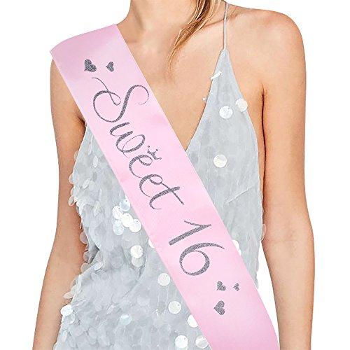 Sweet 16 Sash - 16th Birthday Sash 16 Birthday Gifts Birthday Girl Sash(Light Pink/Glitter Silver)
